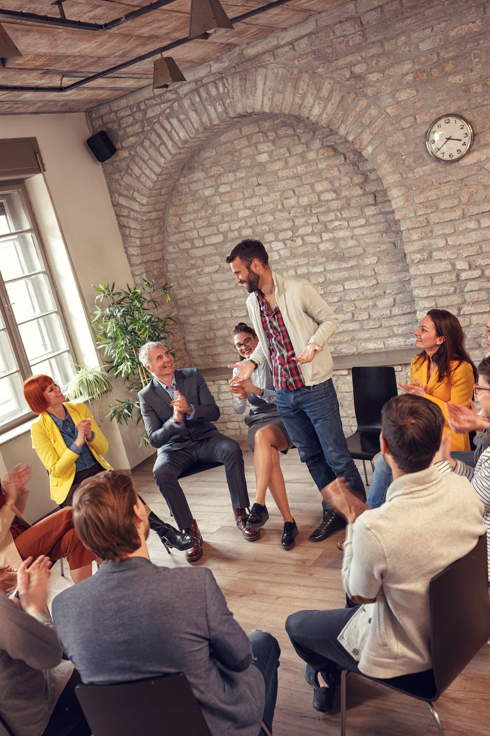 group therapy meeting- business people diverse discussion